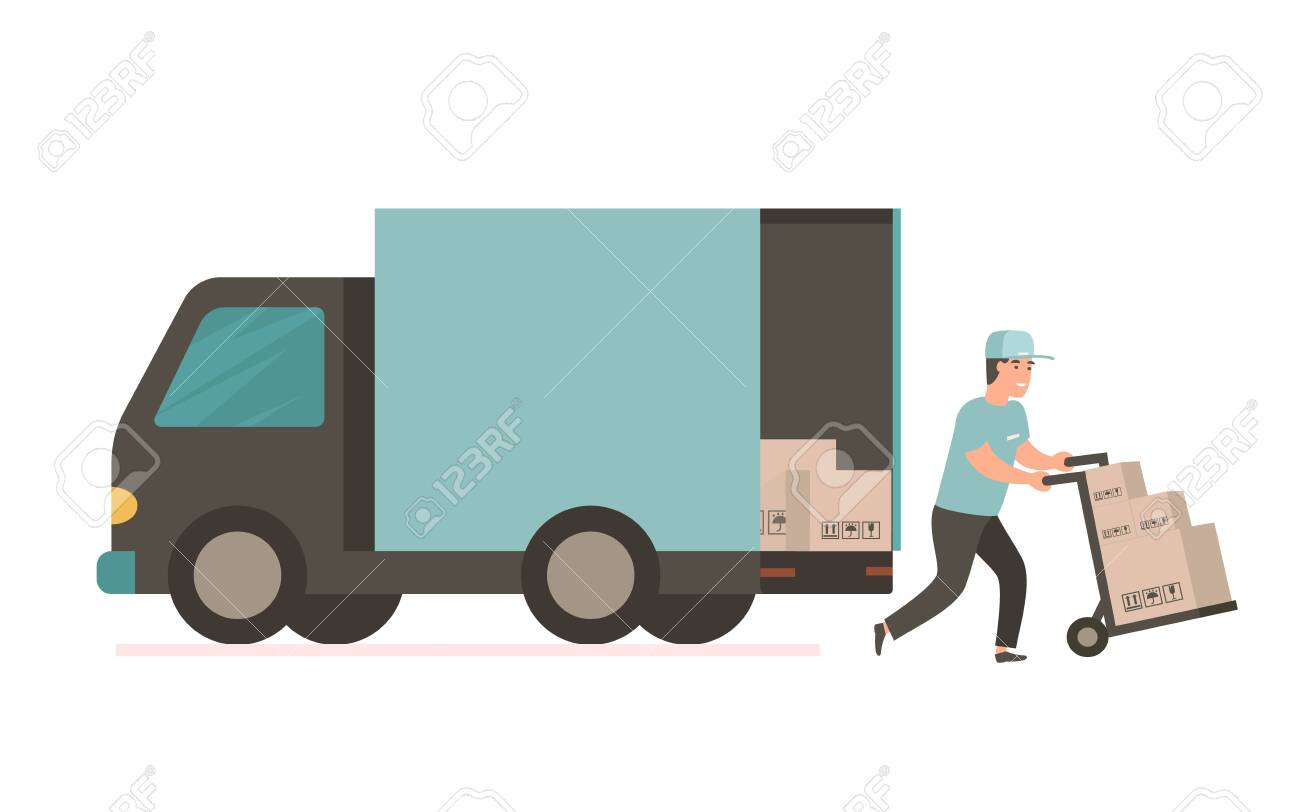 Courier provides free delivery of goods or postal parcels to the address. Man with cardboard boxes. Vector illustration in flat style. Delivery service van - 123576861