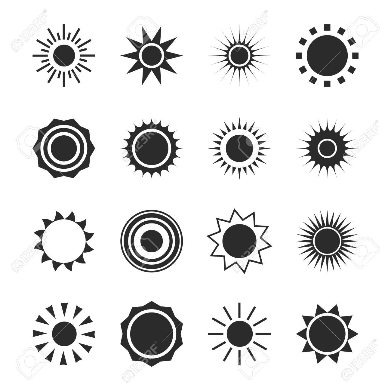 Sun silhouette icon set. Summer circle shape. Heat - 130456252