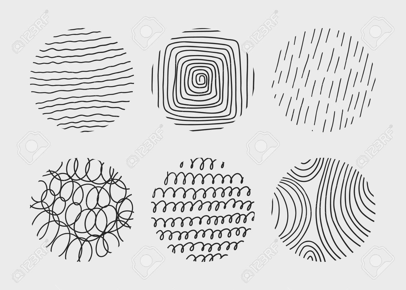 Circle creative minimalism contemporary artwork. Hand drawn doodle shapes. - 169711217
