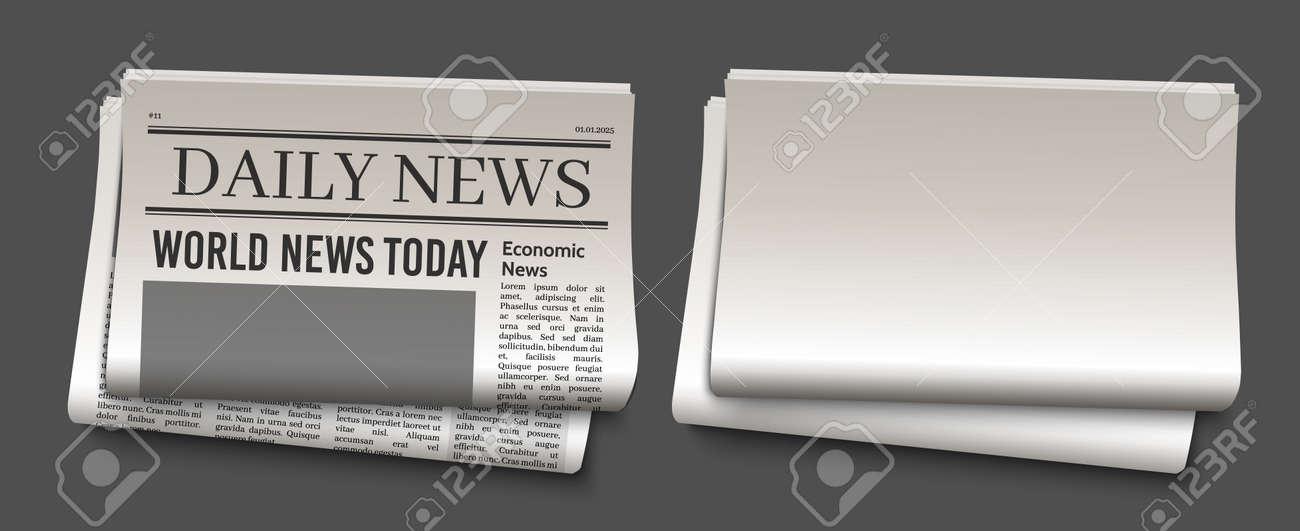 Newspaper headline template. News paper headline vector mockup. Tabloid journal simple background. Newsprint modern style - 169711225