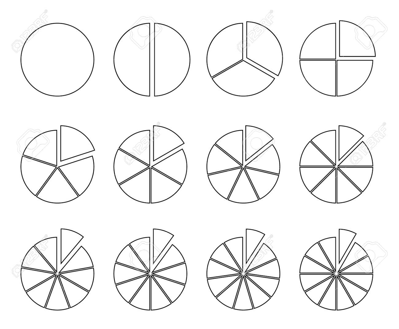 Circle outline chart. Fraction pie divided into slices. Round infographic segments - 169711256