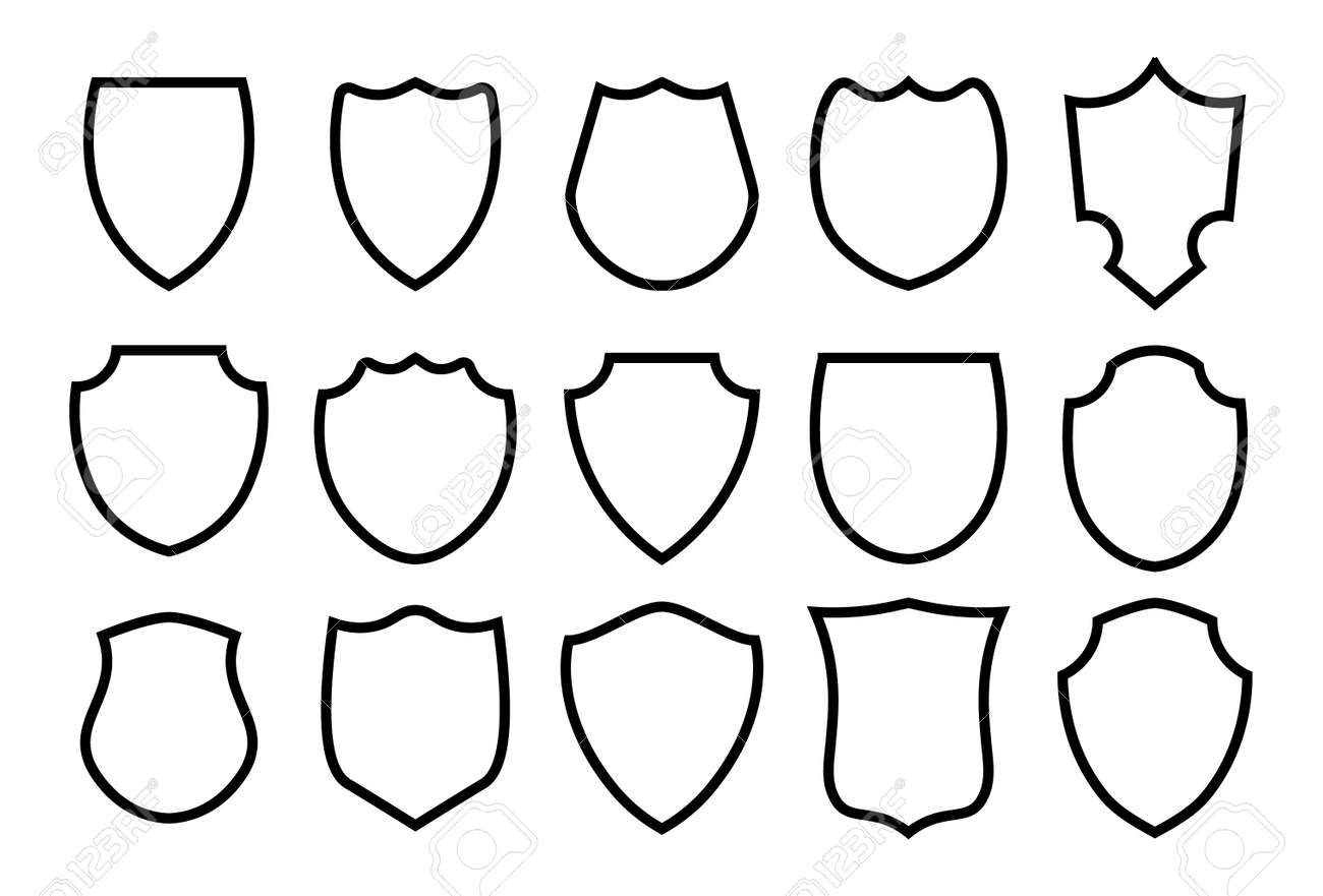 Military or heraldic shield and coat of arms blank icons. Police badge outline set - 169711271