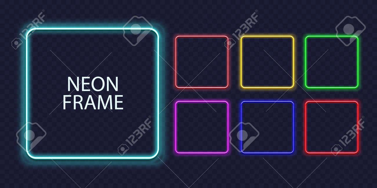 Square neon frames. Fluorescent outline border. Realistic vector led shape - 169711365