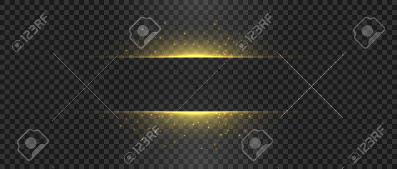 Golden lights and sparks. Gold flash sparkle. Horizontal vector glowing shapes - 169764447