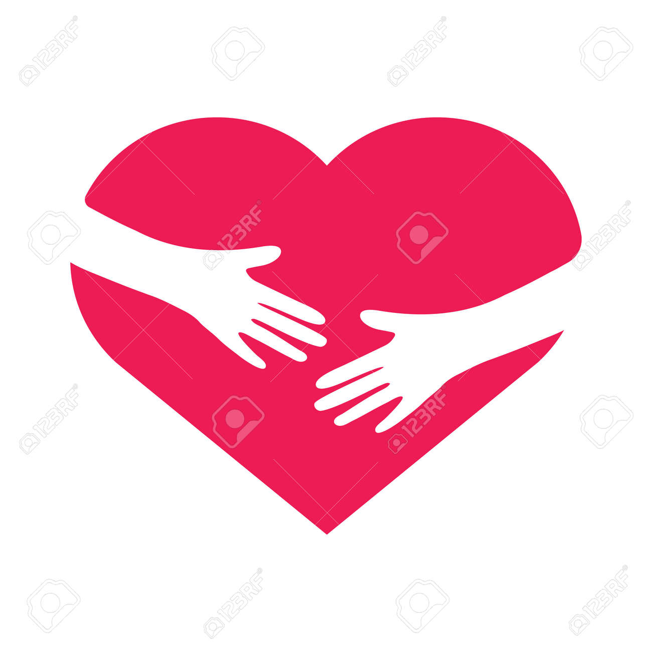 Hand embracing heart. Love yourself concept. Volunteer support flat sign. Vector illustration. - 169764555