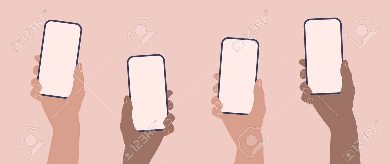 Hands holding phones. Flat smartphone with empty screen template. - 169764559