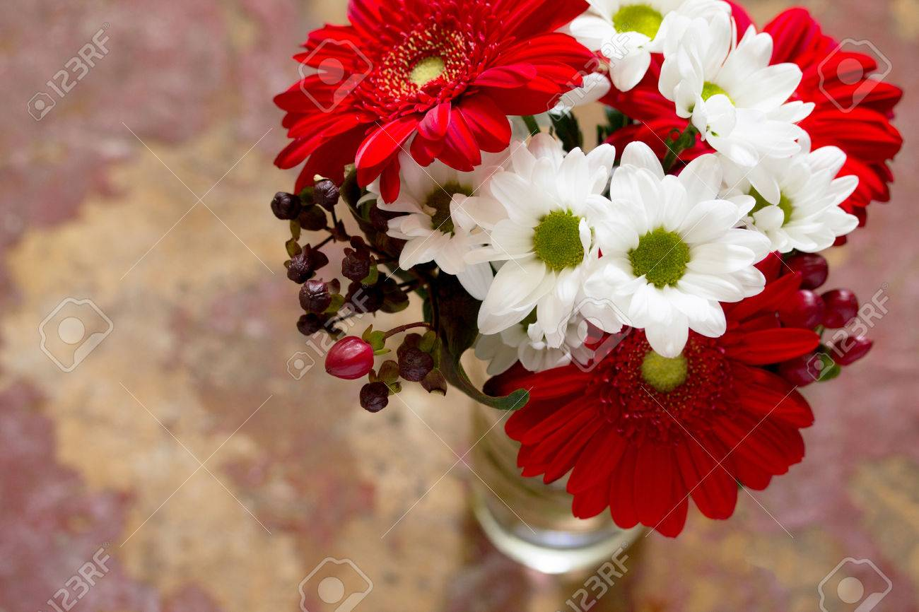 Bouquet Of Flowers With A Red Flower Gerbera Daisy On A Wooden ...