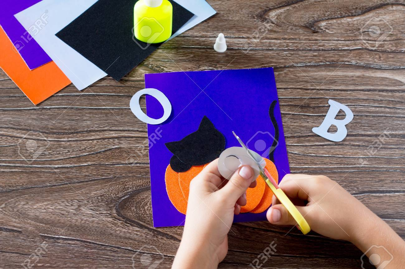 The Child Create A Greeting Card Halloween Paper Black Cat In