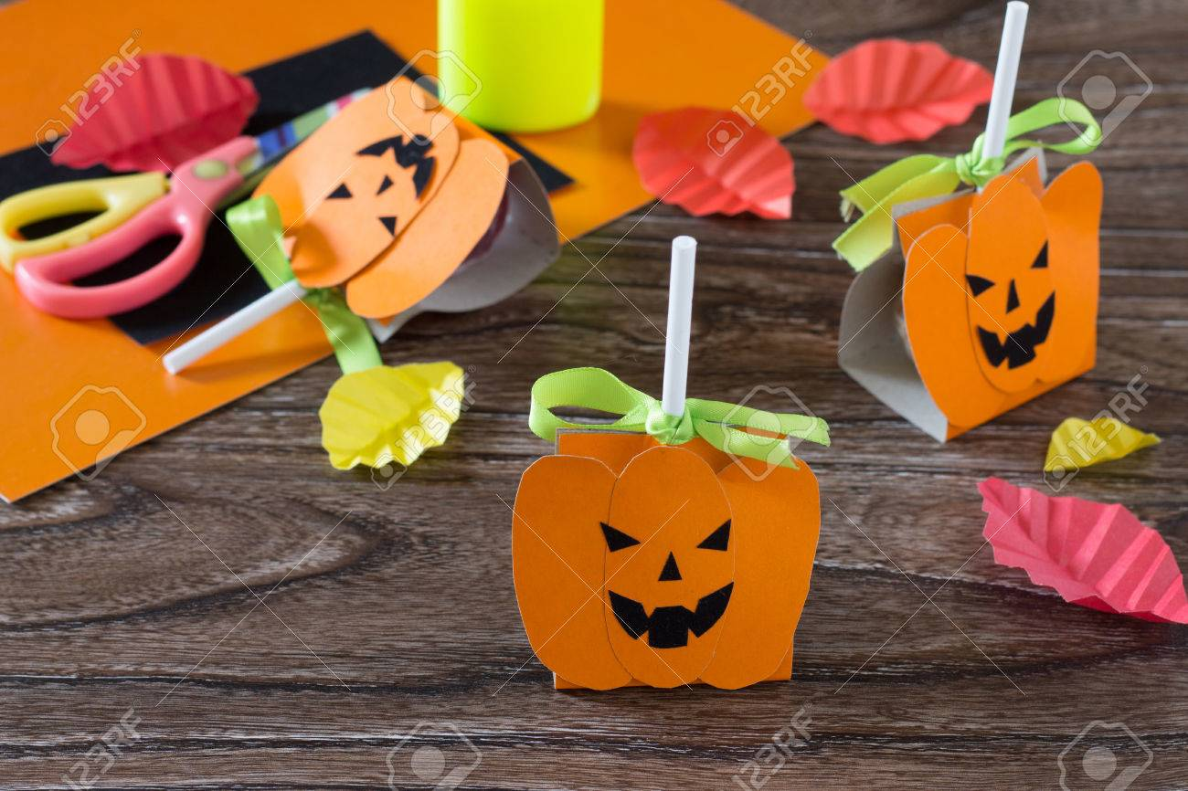 The Child Create A Greeting Packaging For Candy On Halloween Stock