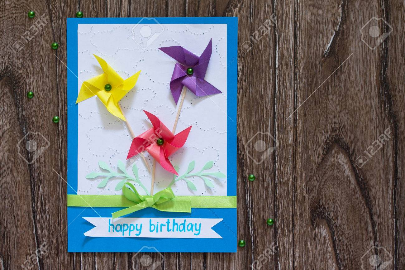 Greeting Card Handmade Birthday Flowers And Branches Copy Space Instructions For The Production