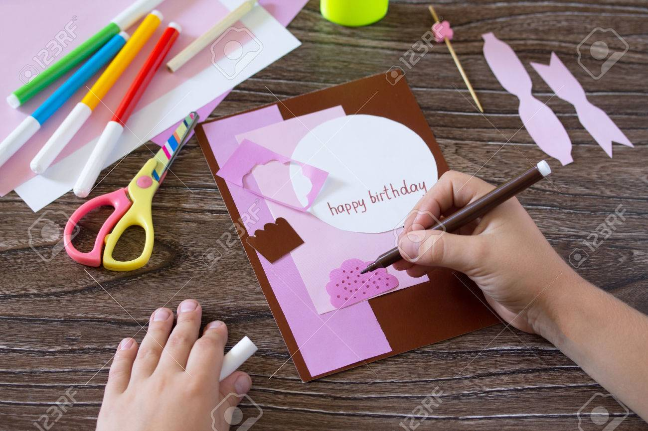 Greeting card handmade birthday cake with cream  Child draw details