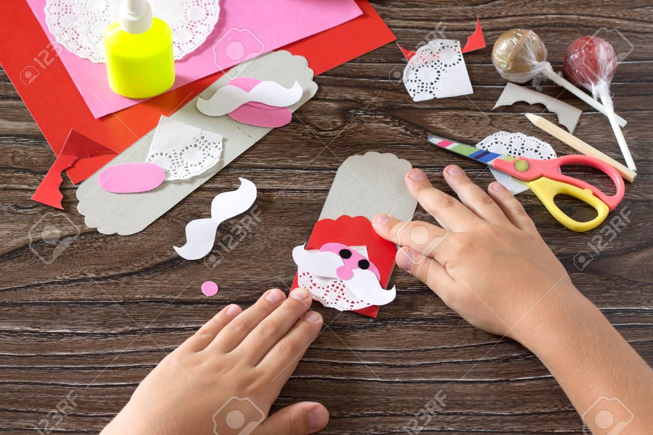 The Child Create A Greeting Packaging For Candy Santa Claus On
