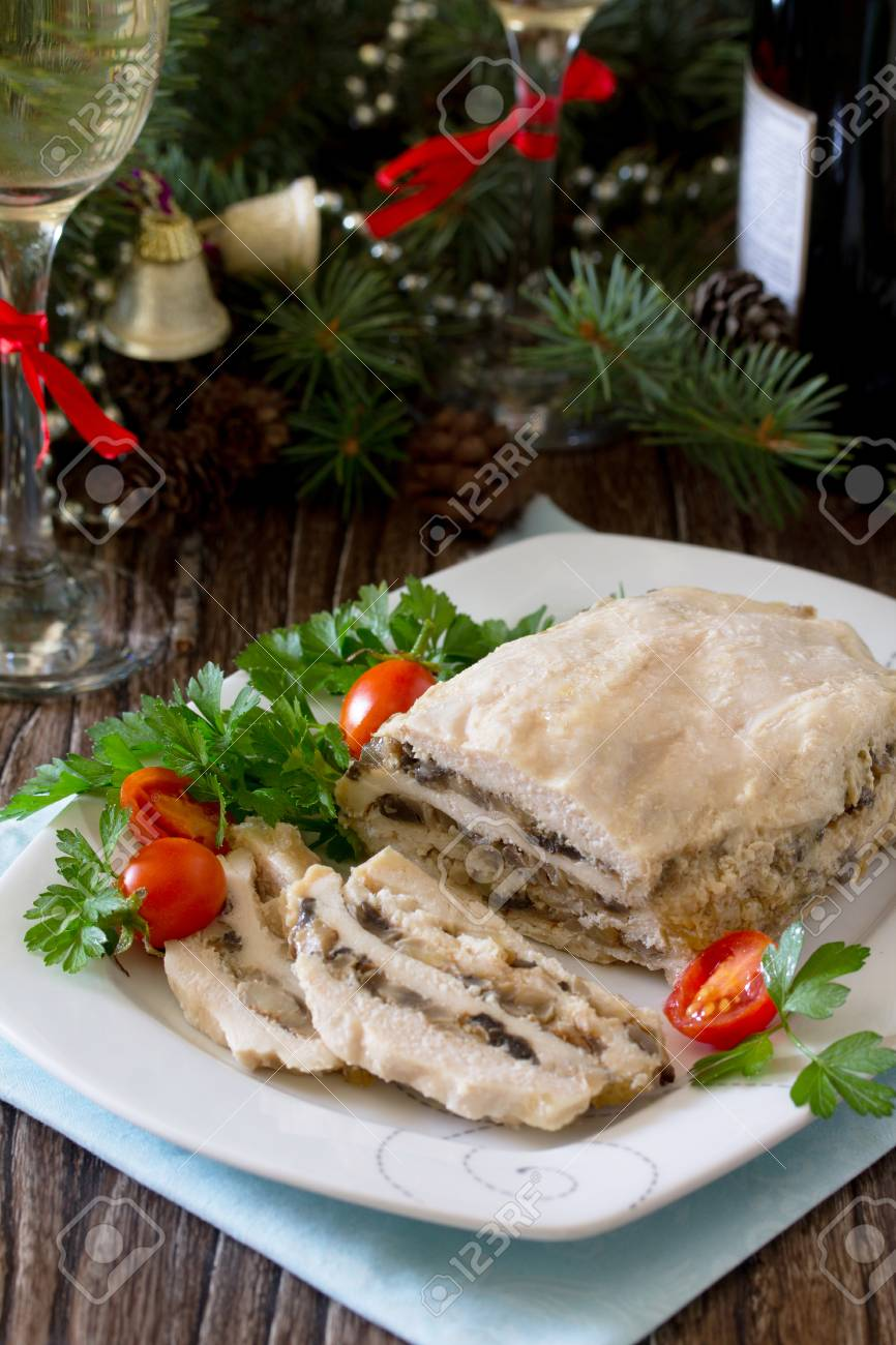 Christmas Meatloaf.Homemade Meatloaf With Mushrooms And Onions On A Festive Christmas