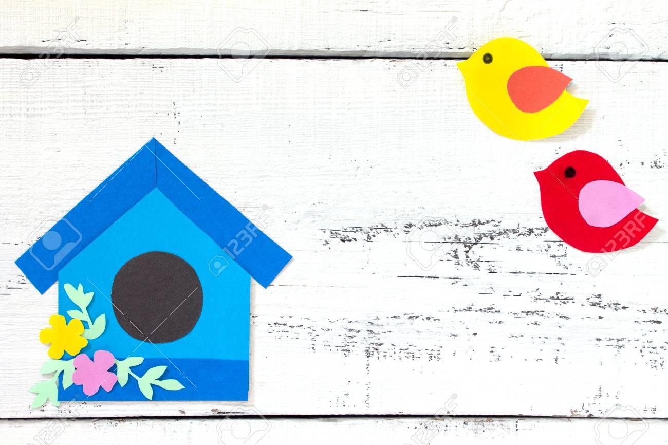Basteln Vogelhaus Interesting Holz Leim Stoff Bekleben Kinder