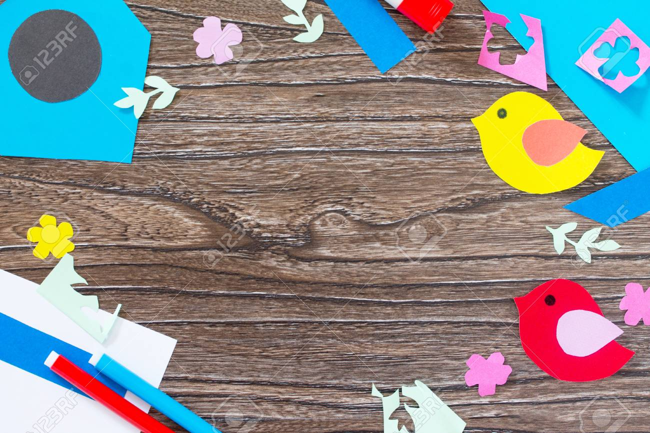 Spring Background Two Birds And A Birdhouse Craft For Kids