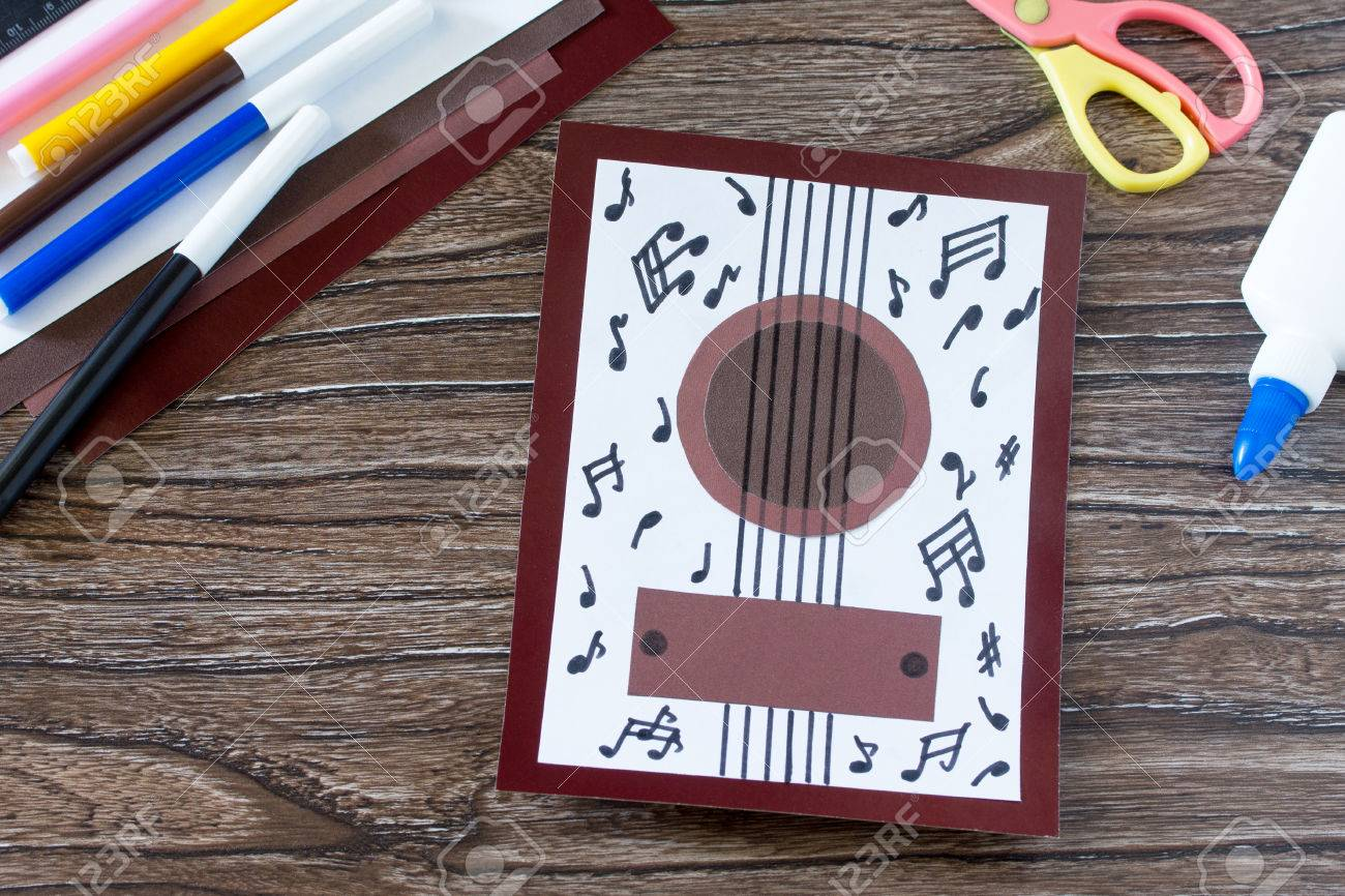 Greeting Card Guitar Music Childrens Art Project Craft For
