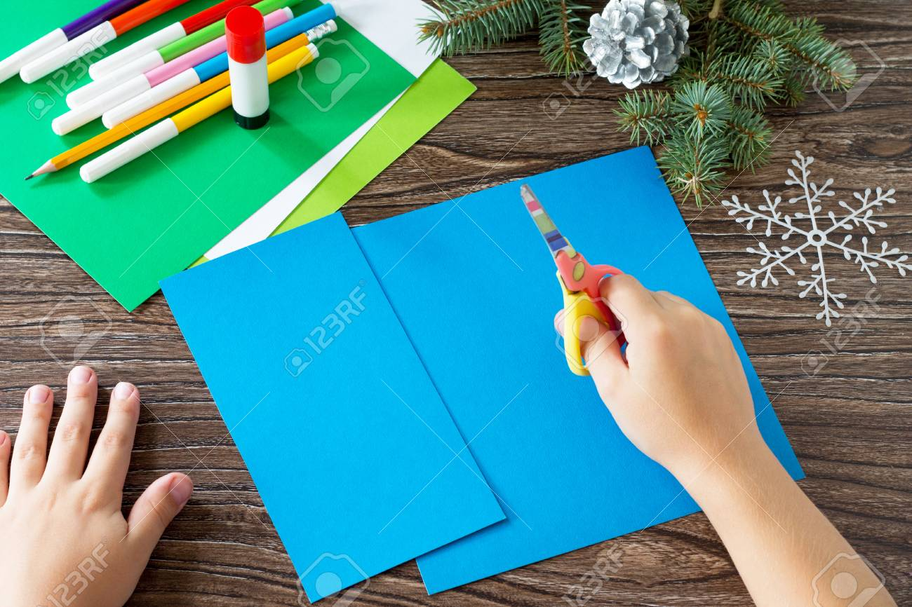 The Child Cuts The Paper Details Greeting Cards Christmas Made