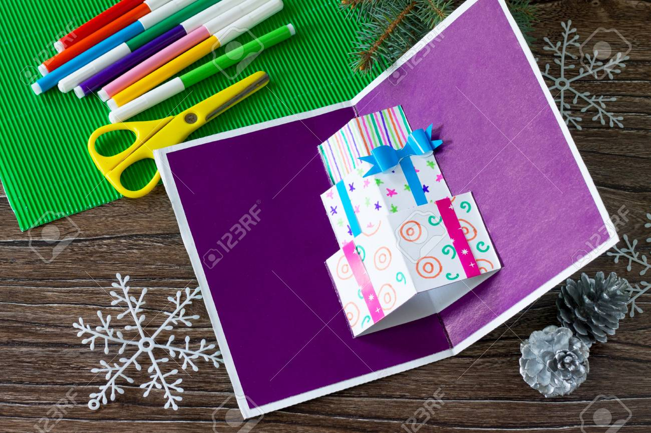 A Child Makes Birthday Card With Christmas Presents Made By Own Hands Childrens