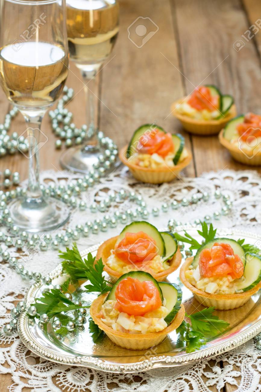 Christmas Snack On The Festive Table. Tartlets With Salad ...