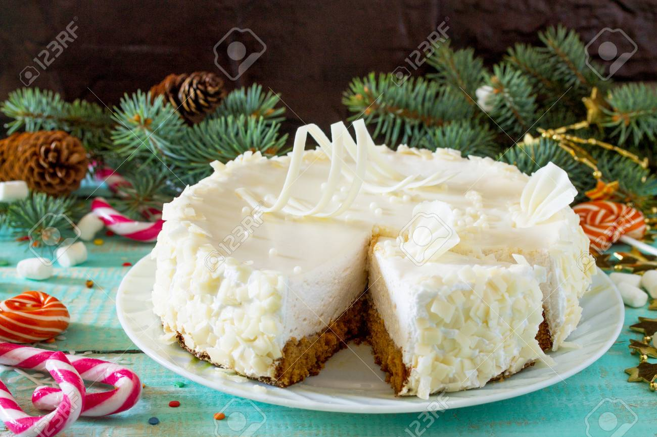 Birthday Cake With White Chocolate Icing On A Festive Christmas Table Copy Space Stock