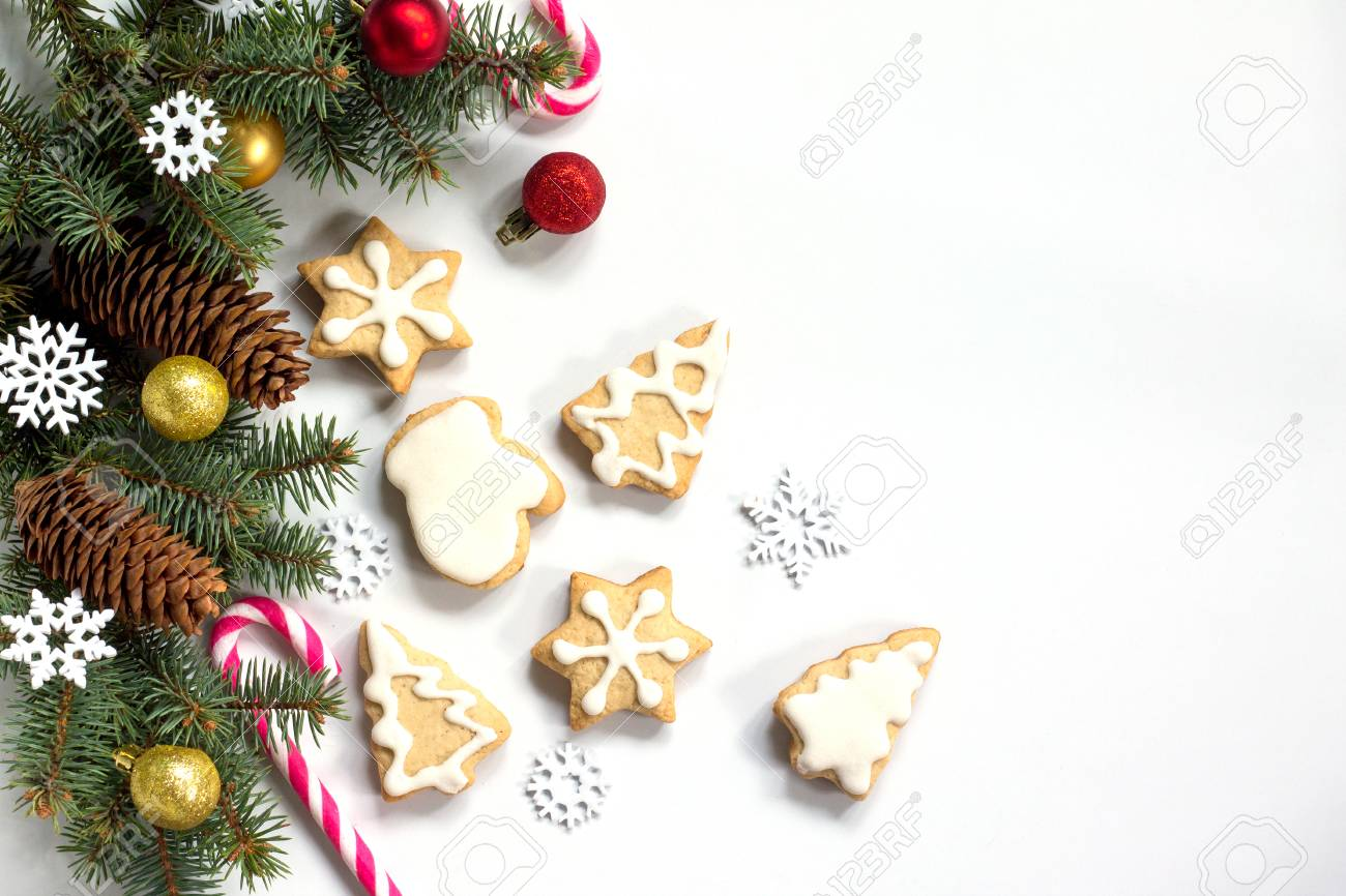 Christmas Background Gingerbread Stars Christmas Tree And Decorations