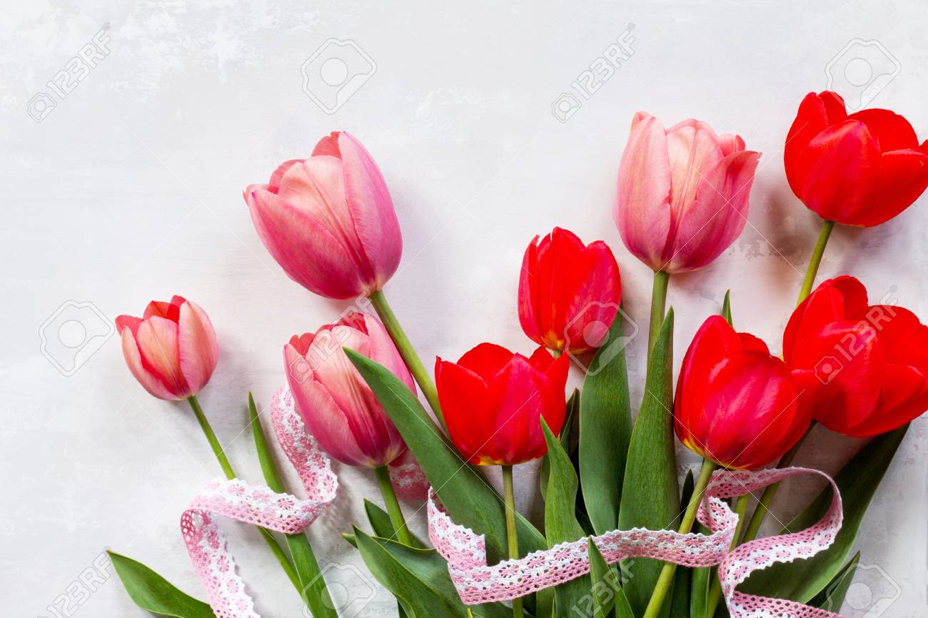 Background Valentines Day Or Wedding Red And Pink Tulips Bouquet