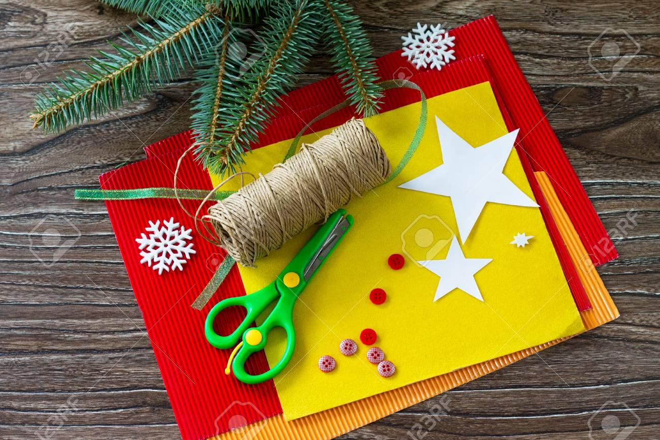 Christmas Tree Toys Handmade.The Child Cuts Out The Details Christmas Tree Toys Gift Handmade