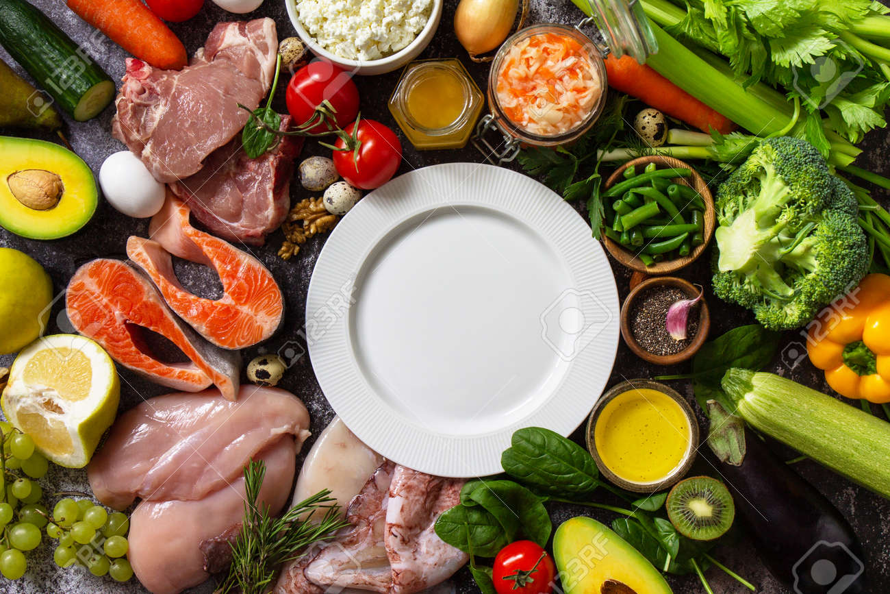 Paleo diet concept. Raw foods high protein and low carbohydrate products, ingredients for healthy food. Top view flat lay. Copy space. - 166045876