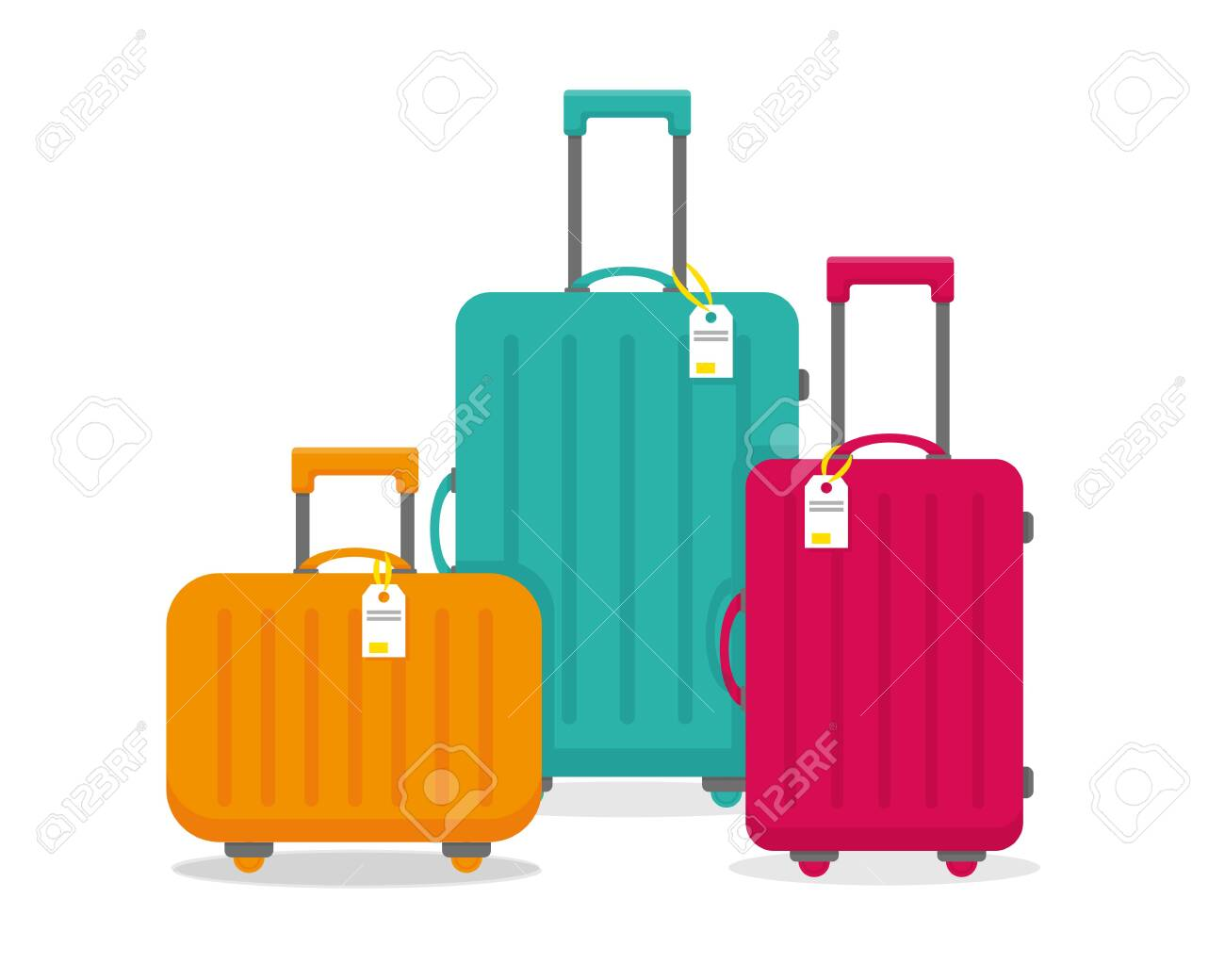 Bright travel suitcases isolated on the white background. Vector illustration. - 133276022
