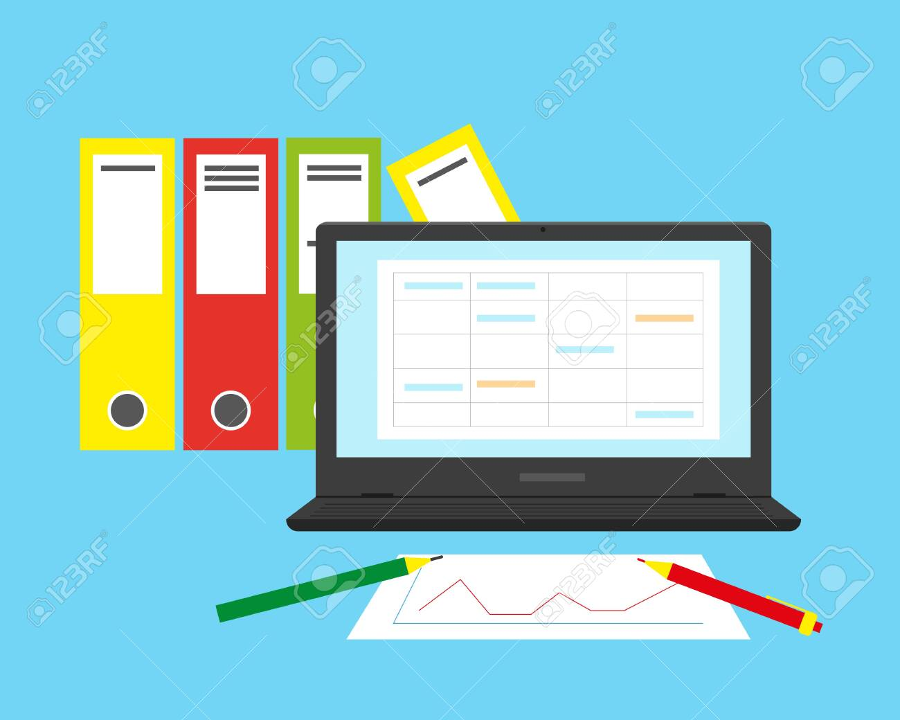 Accounting, financial analysis or business audit concept. Flat vector illustration. - 135040170