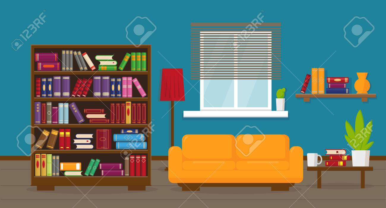Living room or apartment with bookcase, sofa, table, lamp, bookshelves and window. Interior concept. - 134559505