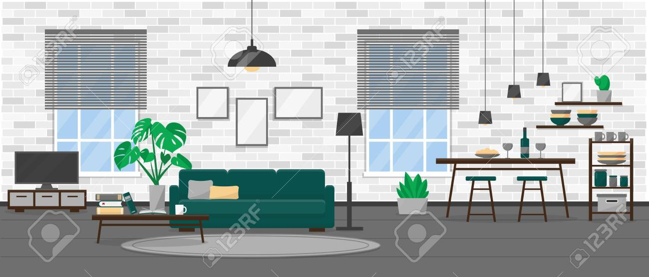 Living Room Interior Design In Modern Loft Style Apartment With Royalty Free Cliparts Vectors And Stock Illustration Image 135143428