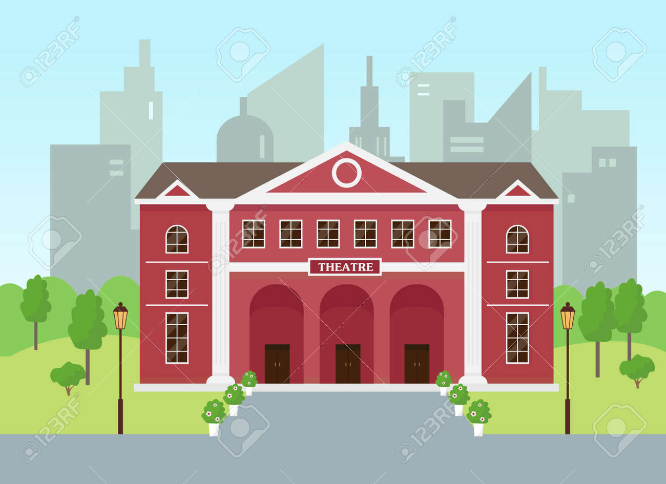 Theatre building in modern city. Opera theatre exterior. - 169439999