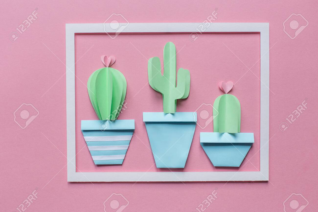 Three Cute Cactus And White Frame Of Paper On A Pink Background Stock Photo Picture And Royalty Free Image Image 121684264