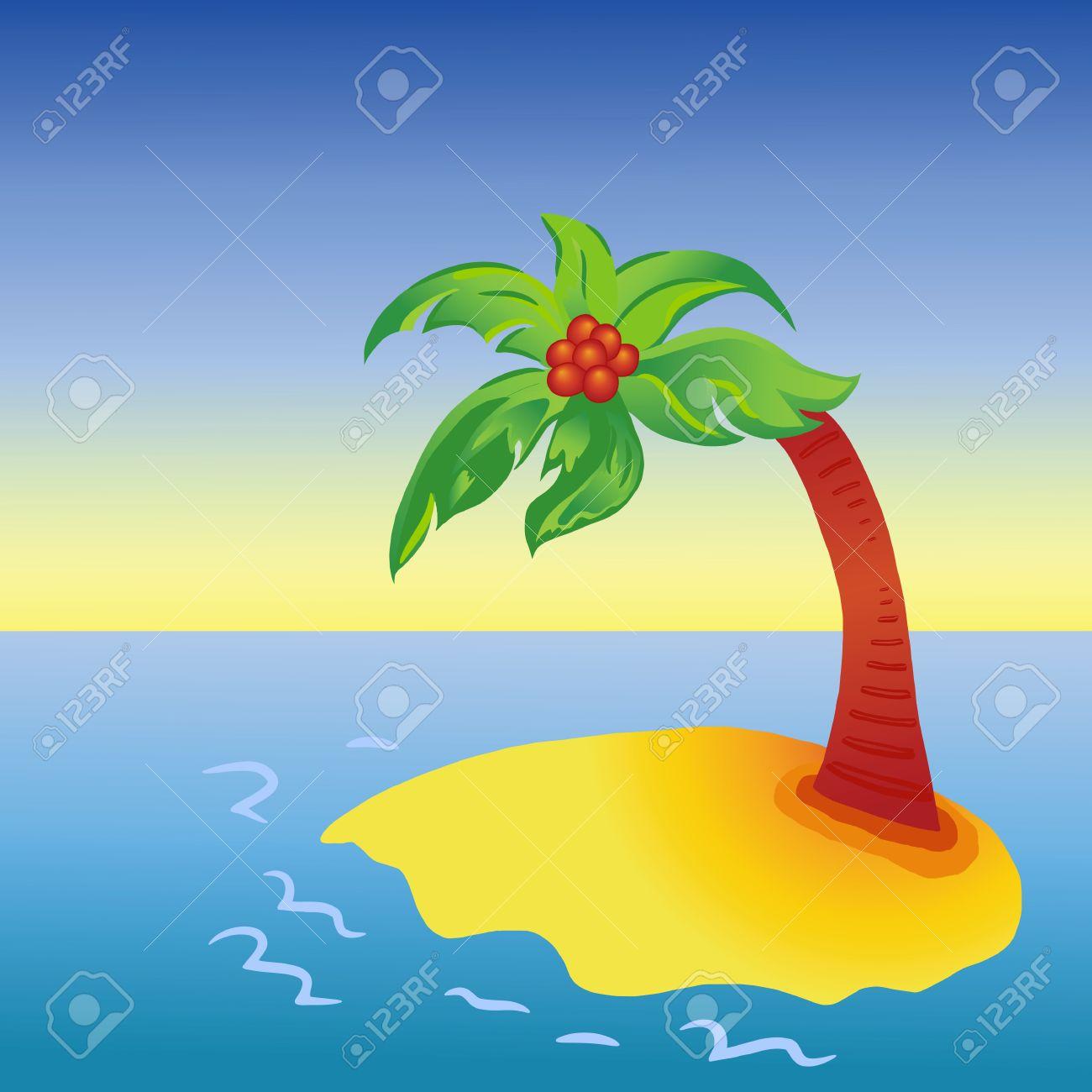 Bright cartoon palm tree on island Stock Vector - 7767349