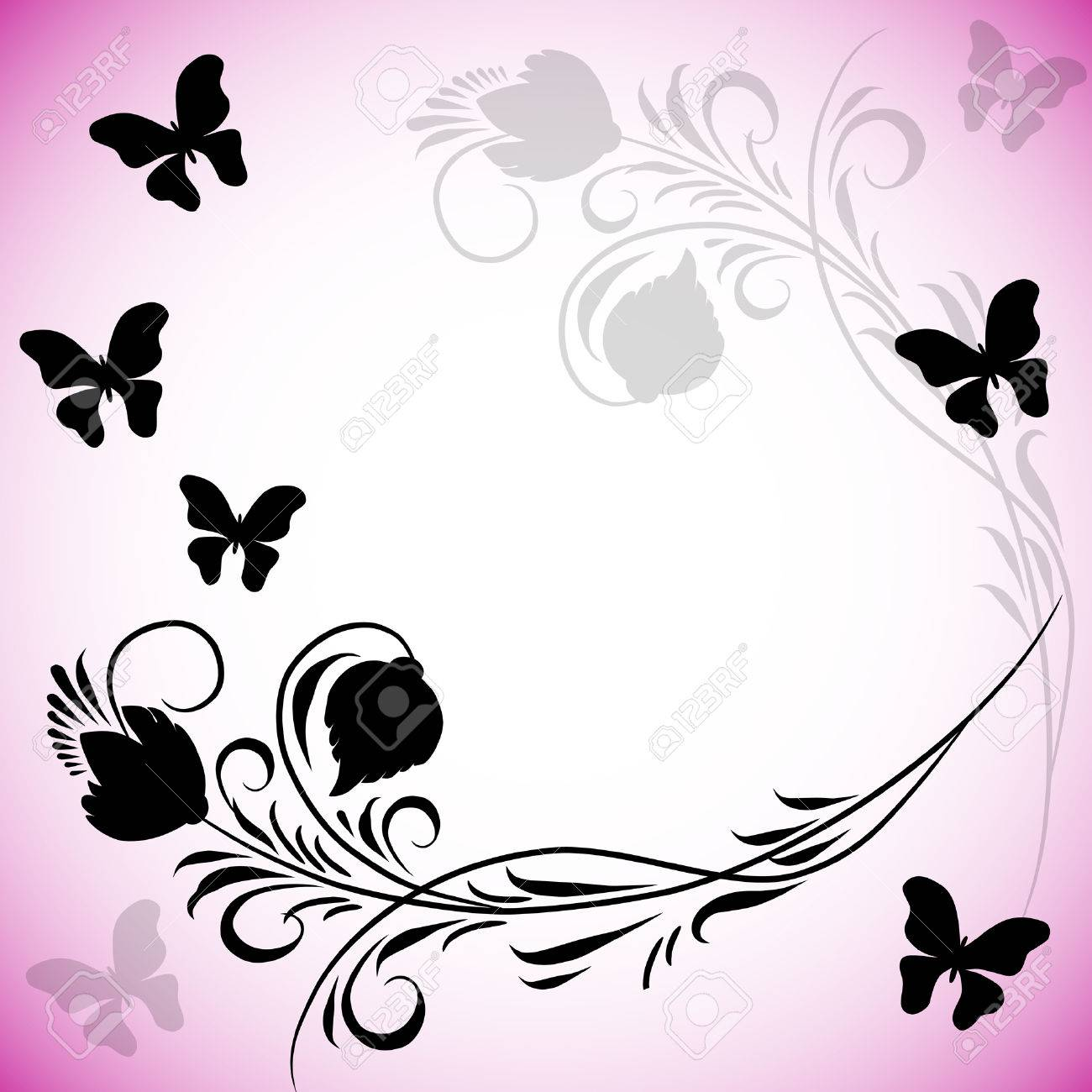 Vettoriale Sfondo Rosa Con Farfalle In Stile Retrò Image 8966150