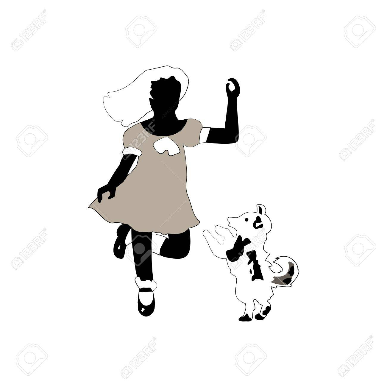 Vintage sillouettes of girl and dog (isolated) Stock Vector - 10028002