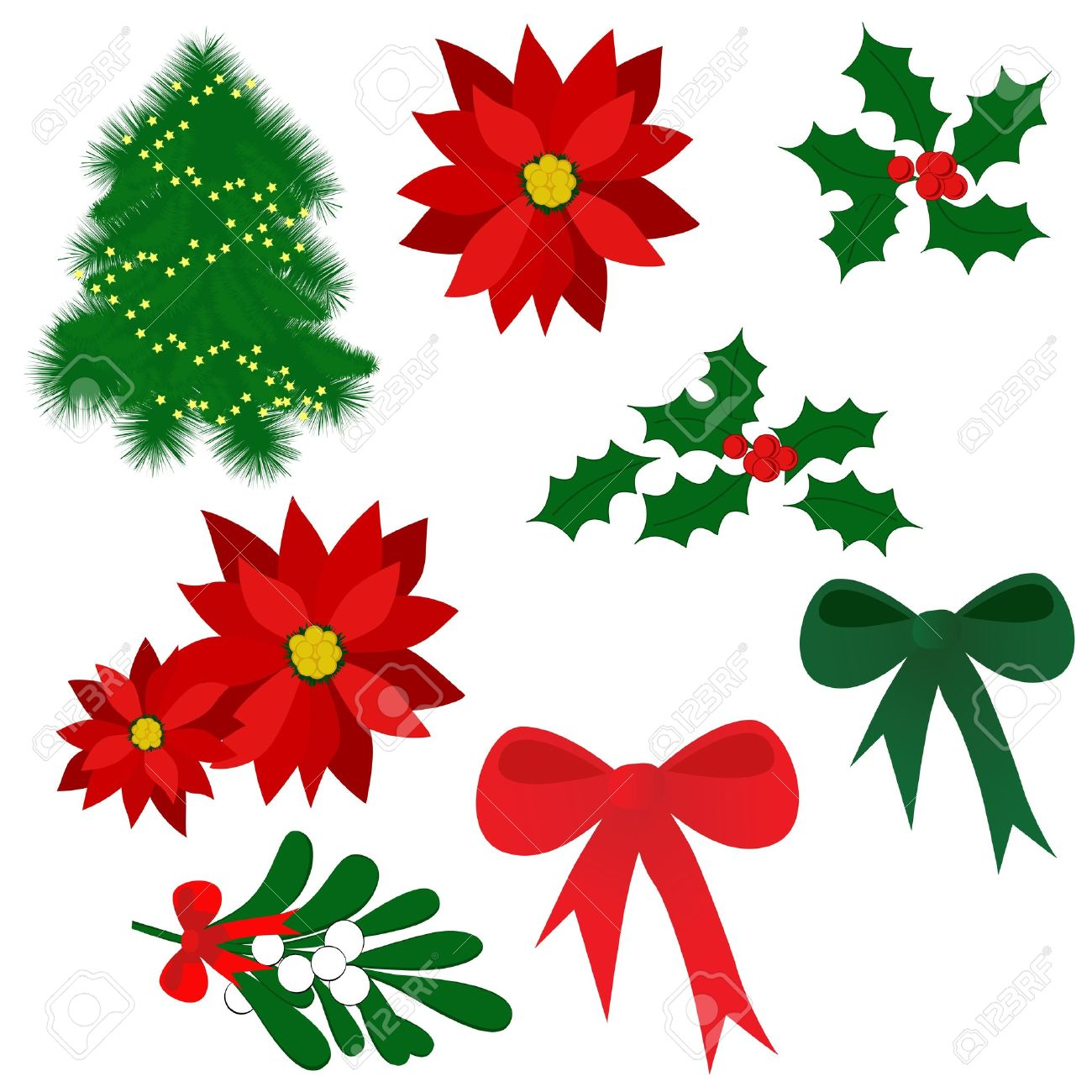 Set Von Isolierten Weihnachten Elemente Für Das Design (Holly Berry ...