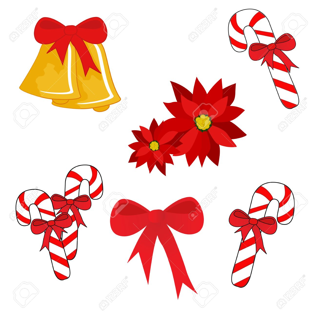 Set Of Isolated Christmas Symbols (bells, Candy Cane, Bow ...