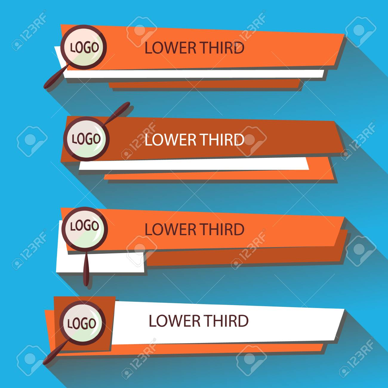 set of lower third banners design template royalty free cliparts