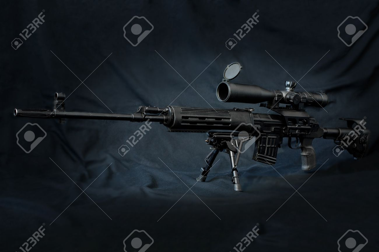 Dragunov sniper rifle in black color with rifle scope