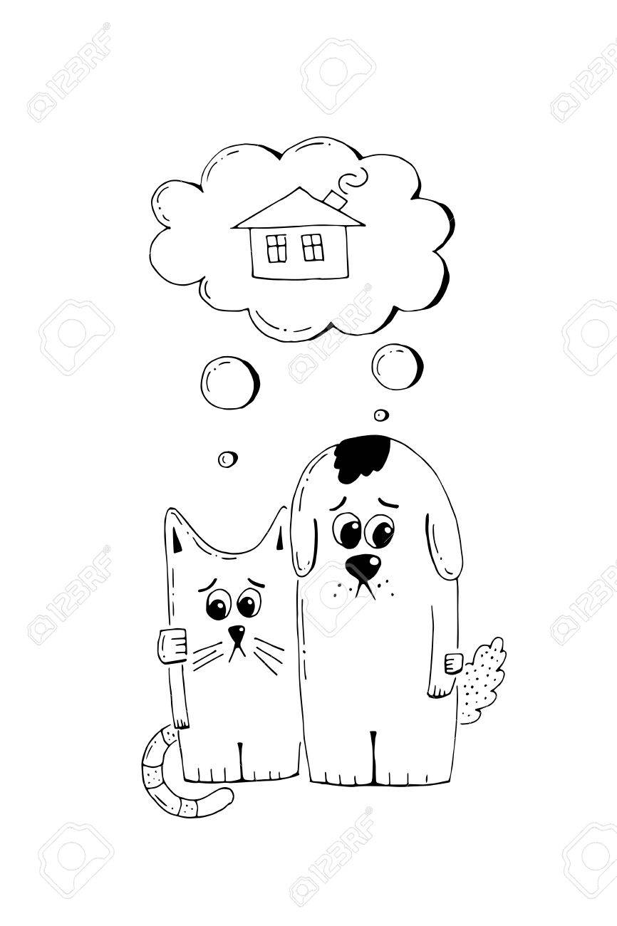 Abandoned puppy and kitten, adopt, animal cruelty, hand drawn illustration. Sad homeless puppy and kitten looking for a home, vector sketch - 84283779