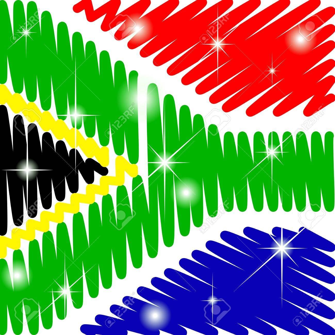 scarabocchiato Sud Africa con la bandiera brillante Archivio Fotografico - 12081417