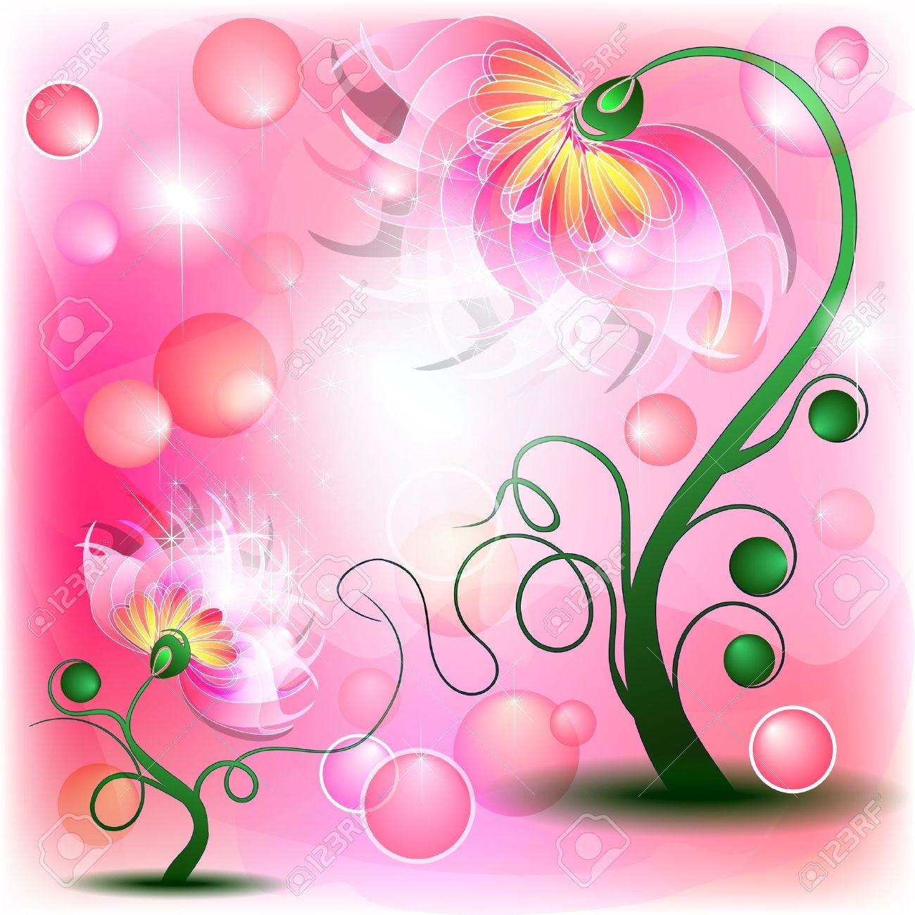 Fata fiori rosa mamma e il bambino in astratto da sogno Archivio Fotografico - 12493484