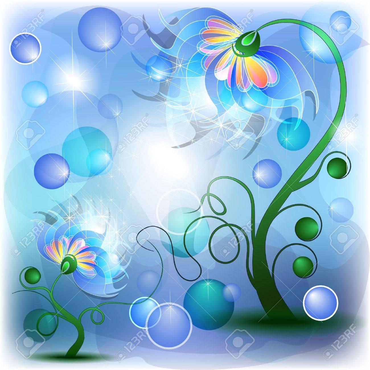 Fata fiori blu mamma e il bambino in astratto da sogno Archivio Fotografico - 12493483