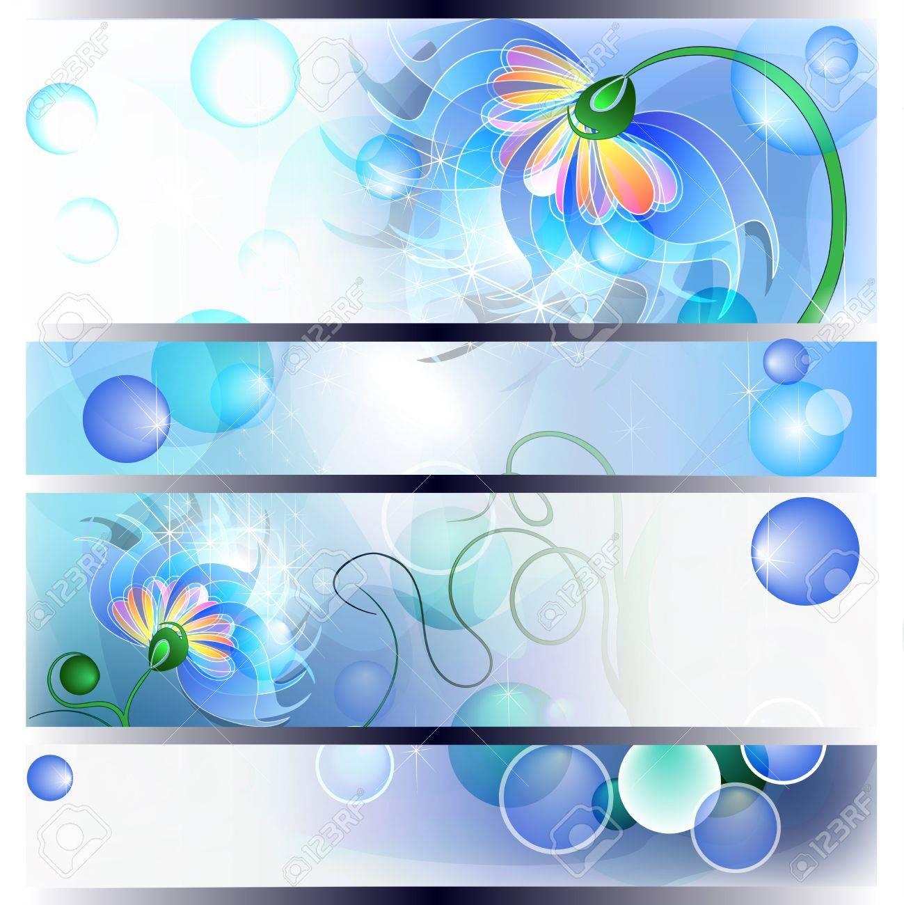 Banner con fata mamma fiori blu o papà e il bambino Archivio Fotografico - 12822077
