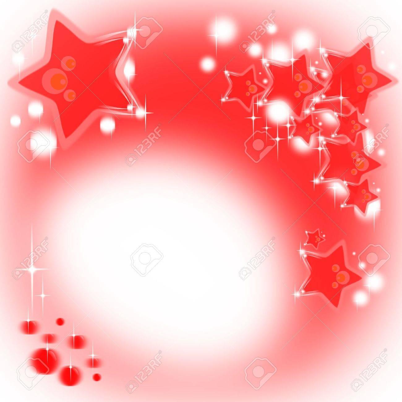 Sfondo rosso Natale con stelle luccicanti e bolle Archivio Fotografico - 13356265