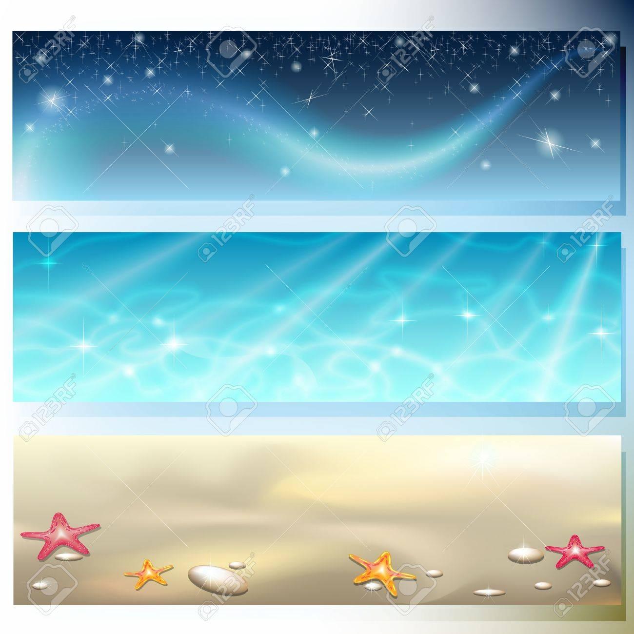 Banner con il cielo scuro, mare e sabbia brillante stellato Archivio Fotografico - 14460340