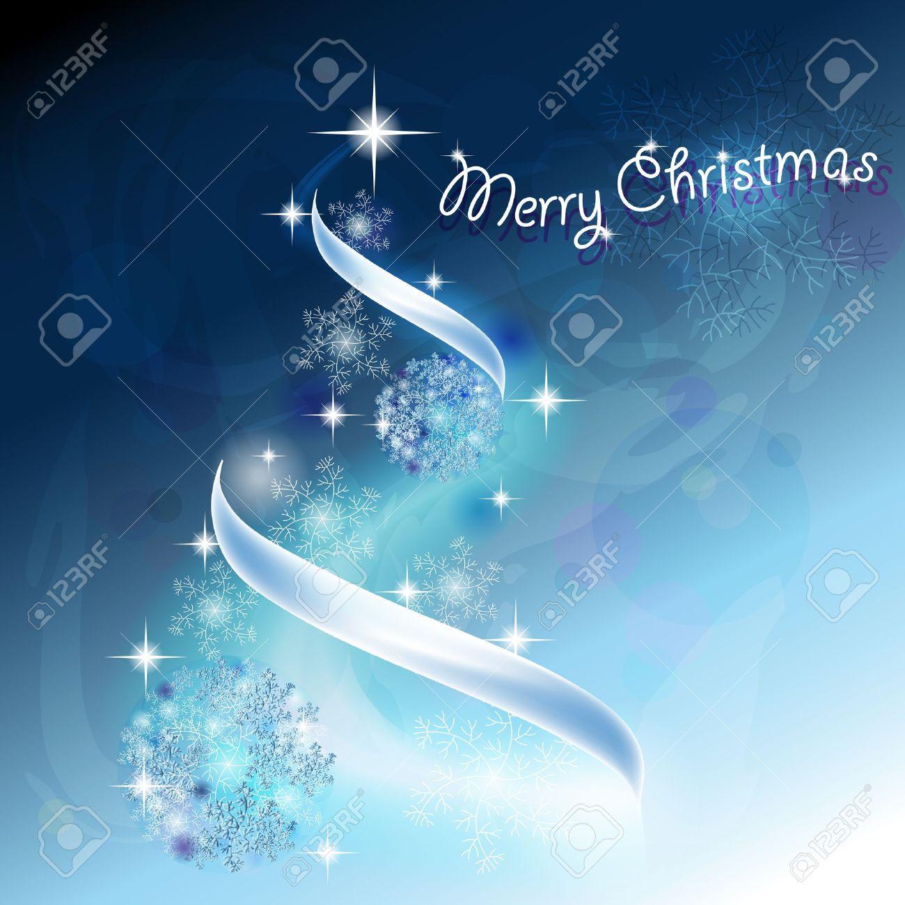 Romantico albero di Natale con i fiocchi di neve e nastri a sfondo blu Archivio Fotografico - 15174761