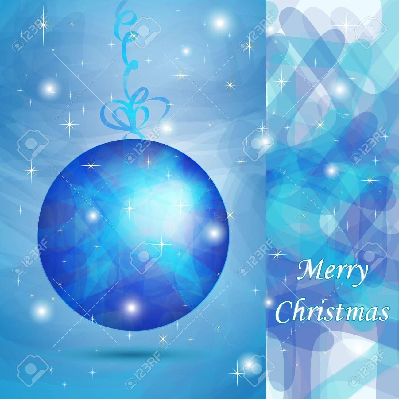 elegante bola de navidad con tonos azules para tarjeta de deseos foto de archivo